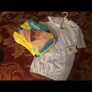 Other - Infant Baby Boy Gown Set & Jumbo Pack of pampers.